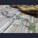 Natural Fluorites Nuggets Beads Necklace Mala Style with Octahedron Natural Fluorite Pendant - Jewelry Mala Necklace