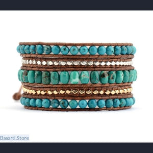 Natural Gemstone Golden and Silver Metal Beads 5x Wrap Bracelet - 200000147