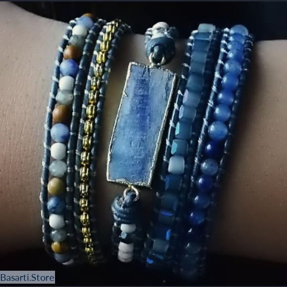 Natural Gemstone Leather 5x Wrap Bracelet - Sodalite Blue Topaz Howlite - Mix Stone 5 Layer Leather Wrap Bracelet