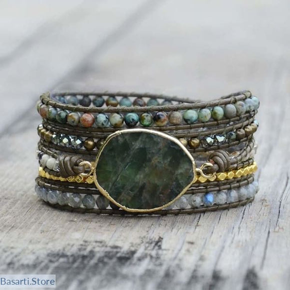 Natural Large Plated Labradorite 5x Wrap Bracelet For Women - Large Labradorite 5x Wrap Bracelet