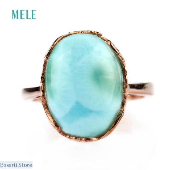 Natural Larimar 925 Silver Ring - Resizable - Fine Jewelry ring Larimar