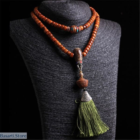 Natural Old Camel Bone 108 Beads Mala Necklace - tribal necklace