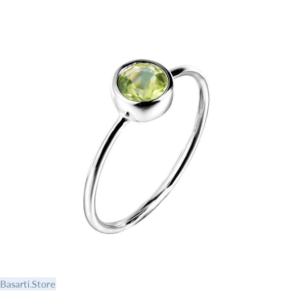 Natural Peridot Gemstone .925 Sterling Silver Ring - 7 - Natural Peridot Gemstone .925 Sterling Silver Rings