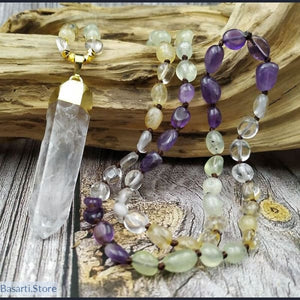 Natural Prehnites Amethysts and Citrines Nugget Beads Hand-Knotted Necklace Mala Style with Pendant - Gold 80cm long - Jewelry Mala Necklace