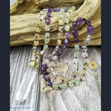 Natural Prehnites Amethysts and Citrines Nugget Beads Hand-Knotted Necklace Mala Style with Pendant - Jewelry Mala Necklace