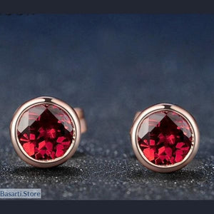 Natural Red Garnet Stud Earrings 18K Rose Gold - Silver Plated (5mm 1ct ) Women Accessories Fine Jewelry