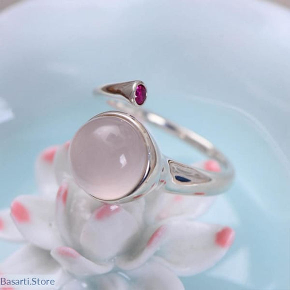 Natural Rose Quartz and Ruby mounted on 925 Sterling Silver Open Ring - Resizable - Fine Jewelry ring Rose Quartz Ruby