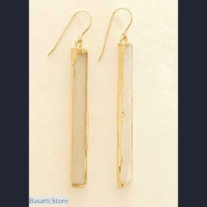 Natural Selenite Earrings 24K Gold Electroplate - Jewelry Earrings