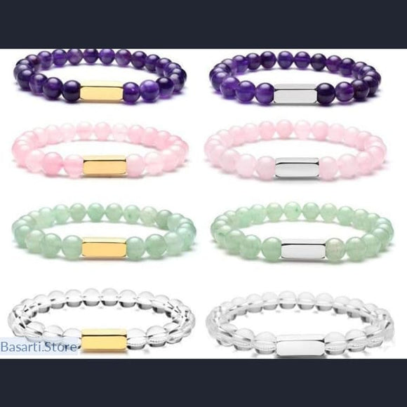Natural Semi-Precious Gemstone Stretch Bracelet (select the stone of your choice) - Jewelry