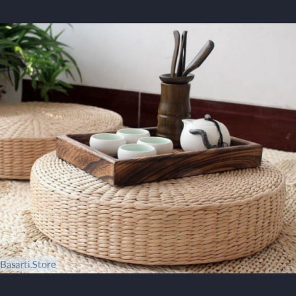Natural Straw Round Zabuton Tatami Floor Cushion - Straw Tatami