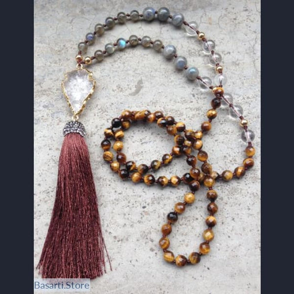 Natural Tigers Eye and Labradorite Beads Necklace with Clear Quartz Pendant and Silk Tassel - jy17 - Jewelry Necklace Mala