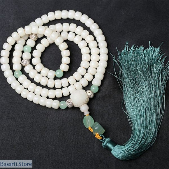 Natural White Bodhi Root 108 Beads Mala Necklace - Jewelry Mala Necklace