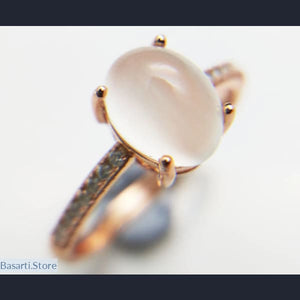 Natural White Moonstone Ring with Simple Setting in 925 Silver Plated Rose Gold - Moonstone Ring