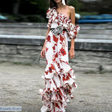 One-shoulder Cascading Ruffles Maxi Dress - Women Maxi Dress