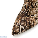 Over The Knee or Above Ankle Snake Print Stiletto Heel Boots - 200000998