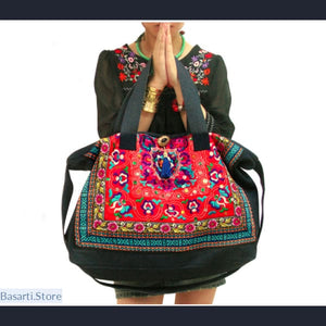 Oversized Folk Embroidered Messenger Shoulder Bag - Folk Embroidered Messenger Shoulder Bag