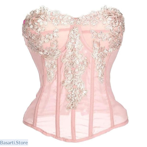 Pink or Black Chiffon Strapless Push Up Corset - L / Pink - Pink Chiffon Strapless Push Up Corset