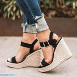 Platform Peep Toe Super High Ankle Buckle Wedges - 5 / Black - 200001002