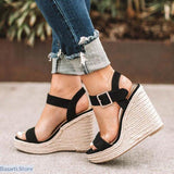 Platform Peep Toe Super High Ankle Buckle Wedges - 200001002