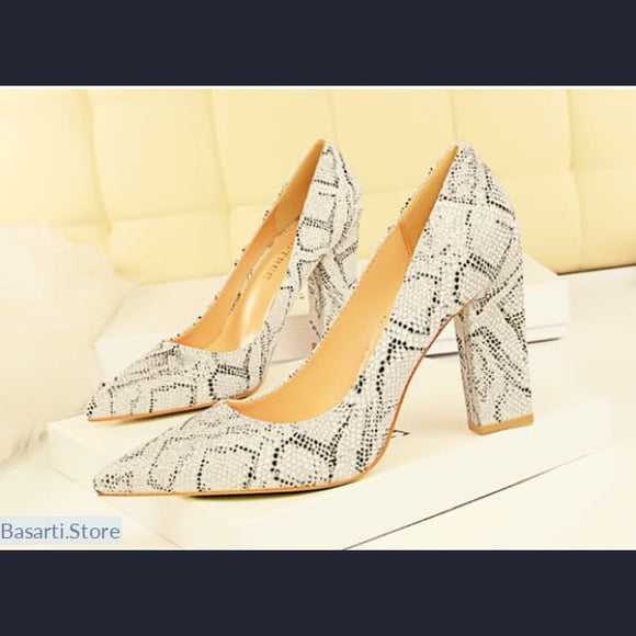 Pointed Toe Silver Snake-print Square Heels Shoes - women shoes