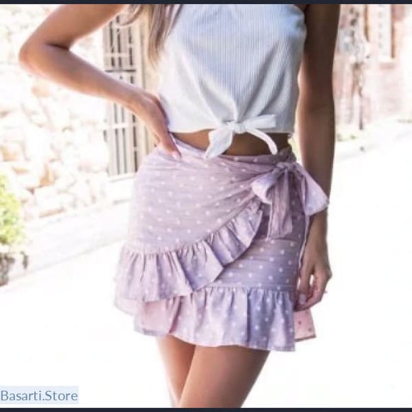 Polka Dot High Waist Mini-Wrap Ruffles Skirt - S / Pink - Polka Dot High Waist Mini Wrap Skirt