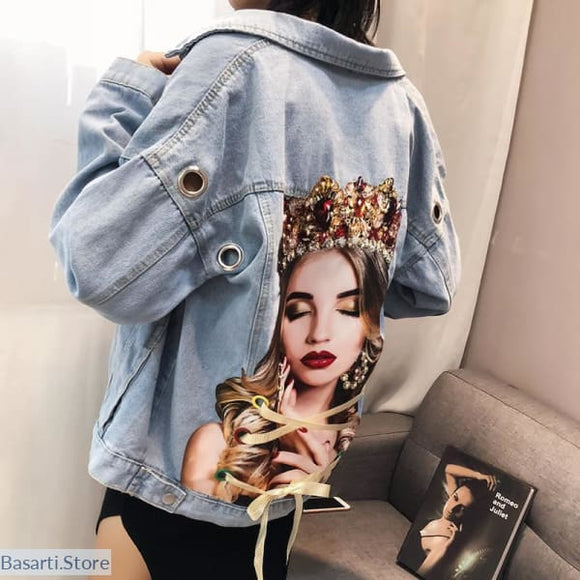 Portrait Print Denim Jean Jacket With Eyelets - 200000801