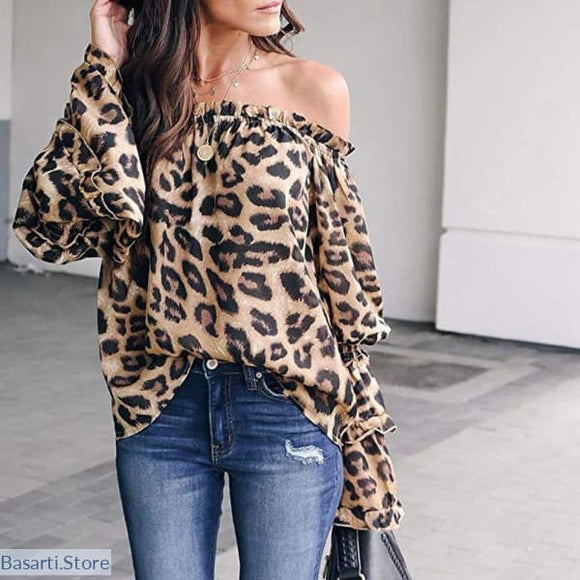 Printed Leopard Slack-Neck Flare Sleeve Blouse - S / A1 - 200000346