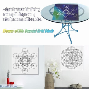Printed Sacred Geometry Crystal Grid Altar Cloth 3 options - Crystal Grid