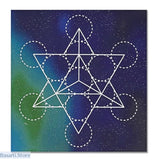 Printed Sacred Geometry Crystal Grid Altar Cloth 3 options - Light Grey - Crystal Grid