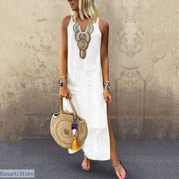 Printed Sleeveless V-Neck Maxi Dress - 200000347