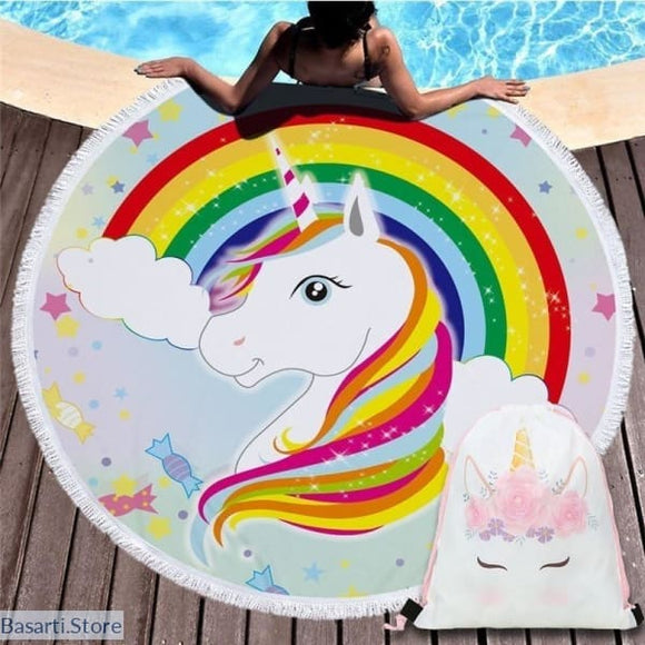 Rainbow Unicorn Large Round Beach Towel - Kid towel