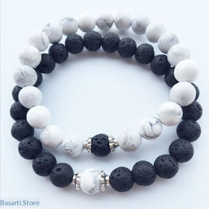 Relationship Bracelets (2) for Lovers - Black Lava Rock & White Howlite Stone - Jewelry Bracelet