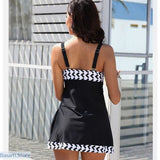 Retro Black and White Tankini Beach Wear - swimsuit