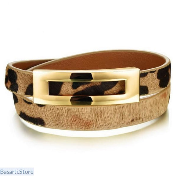 Retro Leopard Print Adjustable Leather Wrap Bracelet - bracelet