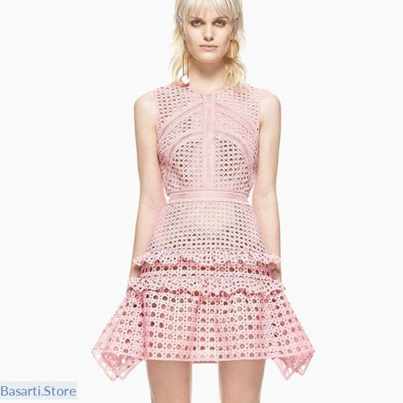 Revisited England Style Pink Hollowed-Out Lace Dress - Excellent Quality - S - Pink Sleeveless Hollow Out Lace Dress