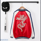Satin Bomber with Embroidered Dragon - Red / L - Unisex Satin Bomber with Embroidered Dragon