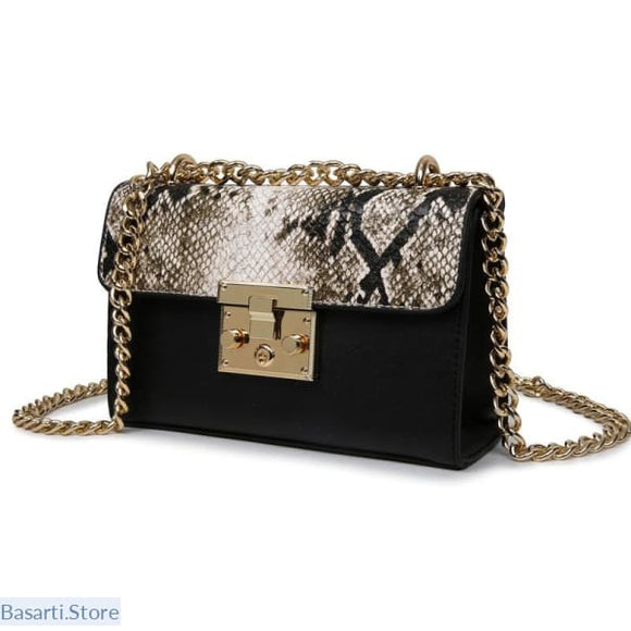 Serpentine Leather Metallic Zip Lock Small Chains Purse - Black - 100002856