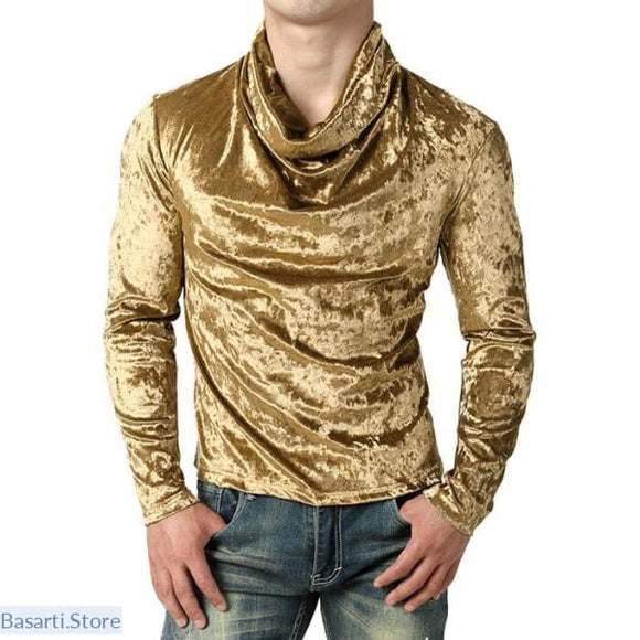 Shiny Velvet Velour Night Club Shirt - S / Gold - 200000783
