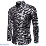 Shiny Zebra Striped Nightclub Shirt - L / Black - 348