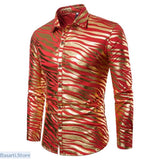 Shiny Zebra Striped Nightclub Shirt - L / Red - 348
