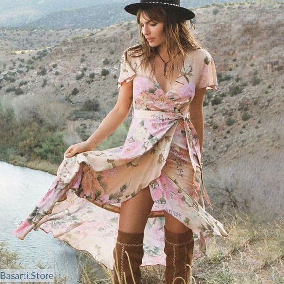 Short Sleeve Boho V-Neck Gypsy Ruffles Dress - 200000347