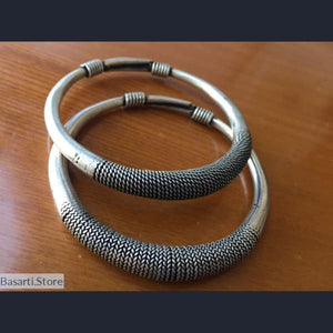 Silver Plated Pair of Tibetan Hand Carved Bangle Bracelets - Tibetan Hand Carved Bangle Bracelets