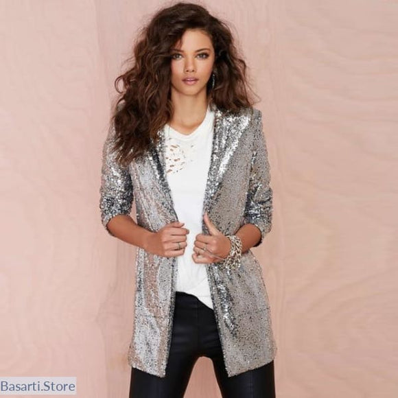 Silver Sequined Blazer with Turn-down Collar Slim Cut and Long Sleeves - L - Women Sequined Blazer