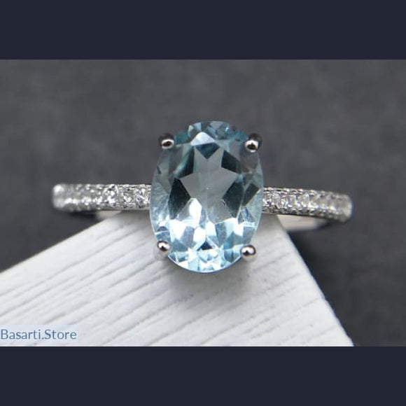 Simple and Classic Ring with 1.2ct Natural Sky Blue Topaz - Sky Blue Topaz Ring
