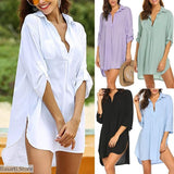 Simple Beach Bathing Suit Cover Up Shirt - 200000346