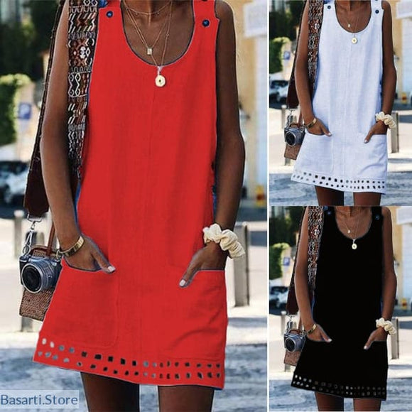 Simple Cotton Sleeveless Loose Button Pocket Mini Dress - 200000347