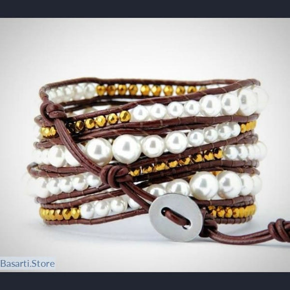 Simulated Pearls Brown Leather 5X Wrap Bracelet - Natural Shell Pearls Leather Wrap Bracelet