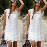 Sleeveless Lace Beach Cover Up - 200005118
