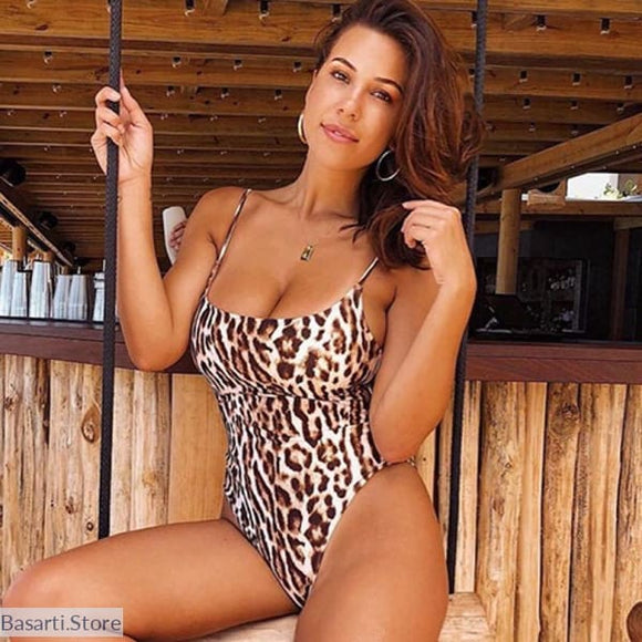 Slimming Leopard Print Push Up Monokini - L / Leopard - animal printed monokini
