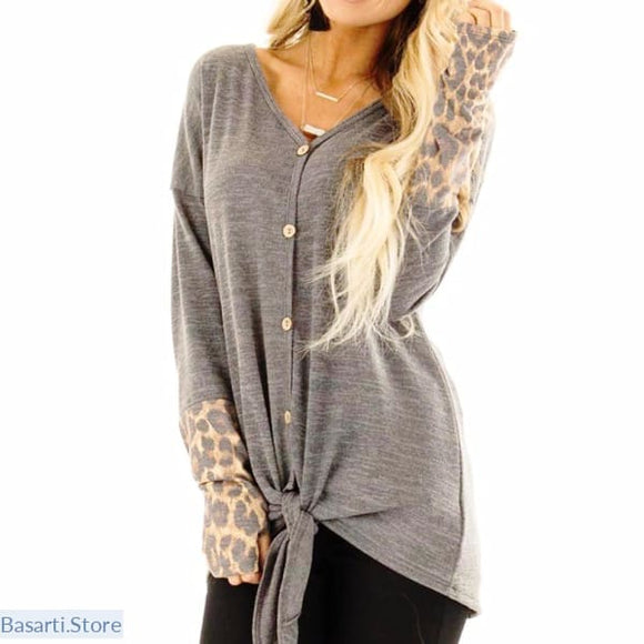Solid Button Up Top with Front Tie and Leopard Print Long Sleeve - Solid top with leopard long sleeve
